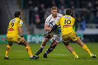 24th November 2019; AJ Bell Stadium, Salford, Lancashire, England; European Champions Cup Rugby, Sale Sharks versus La Rochelle; Jean-Luc du Preez of Sale Sharks is tackled by Brock James of La Rochelle - Editorial Use