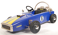 BNPS.co.uk (01202 558833)<br /> Pic: EastBristolAuctions/BNPS<br /> <br /> £900 - A rare unique vintage 1960's Lola pedal racing car. . <br />   <br /> Toy story...<br /> <br /> A remarkable lifetime collection of 30 vintage toy cars has emerged for sale for more than £65,000.<br /> <br /> The fleet of rare pedal cars were acquired over almost half a century by retired car garage owner David Worrow, 72.<br /> <br /> During their time with Mr Worrow they formed what was believed to be the biggest private collection of its kind in the world.