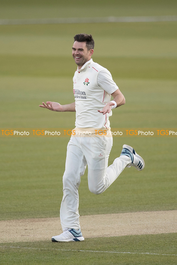 James Anderson of Lancashire CCC celebrates the wicket of Nick Gubbins for 0 during Middlesex CCC vs Lancashire CCC, Specsavers County Championship Division 2 Cricket at Lord's Cricket Ground on 13th April 2019