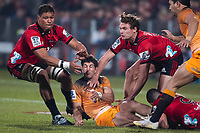 Jaguares' Tomas Cubelli is tackled during the 2019 Super Rugby final between the Crusaders and Jaguares at Orangetheory Stadium in Christchurch, New Zealand on Saturday, 6 July 2019. Photo: Joe Johnson / lintottphoto.co.nz
