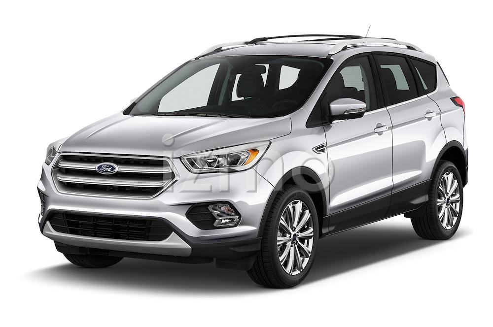 2018 Ford Escape Titanium 5 Door Suv Angular Front stock photos of front three quarter view