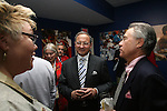 27 August 2006: Dr. Robert S. Contiguglia (c), former president of the U.S. Soccer Federation, talks with Soccer America Magazine publisher Lynn Berling-Manuel (l) and Philip Anschutz (r), 2006 Hall of Fame inductee, during the opening of a new exhibit commemorating the first ten years of Major League Soccer. The President's Reception and Dinner were held at the National Soccer Hall of Fame in Oneonta, New York the evening before the 2006 Induction Ceremony.