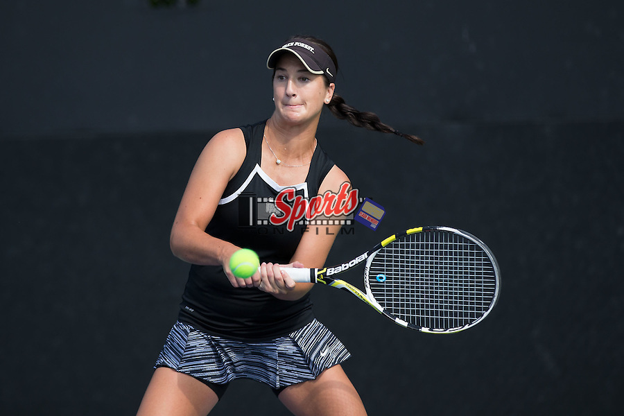 Karen Forman of the Wake Forest Demon Deacons in action during the Wake Forest Invitational at the Wake Forest Tennis Center on October 3, 2014 in Winston-Salem, North Carolina.  (Brian Westerholt/Sports On Film)