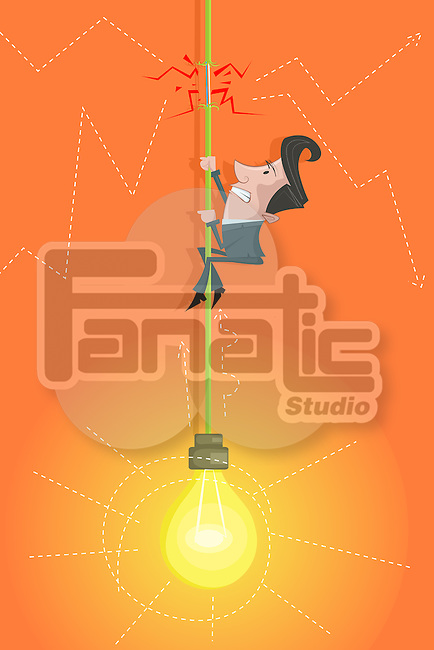 Illustrative image of capitalist climbing cord of light bulb representing risk in investment