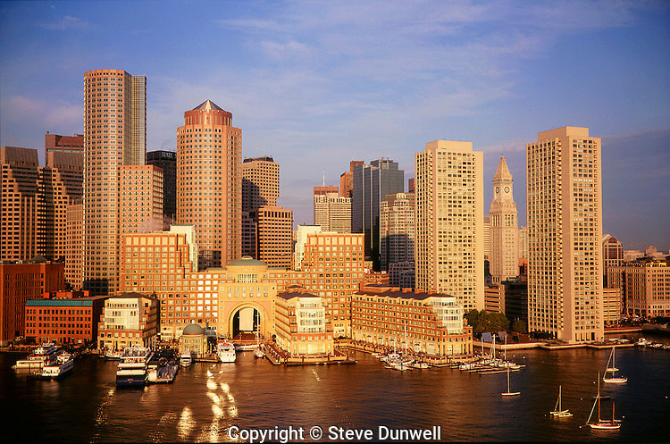 Aerial harbor waterfront sunrise, Boston, MA