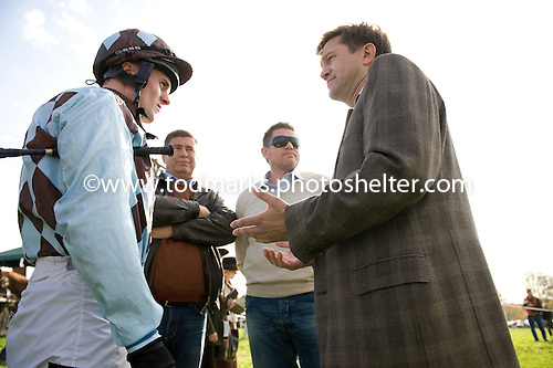 Morten Buskop instructs James Patrick O'Farrell before giving him a leg up in the Grand National at Far Hills.
