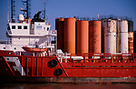 A728R2 Ship and chemicals storage tanks Great Yarmouth Norfolk England
