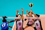 Mami Uchiseto (C) and Haruyo Shimamura of Japan (R) blocks Miryam Fatime Sylla of Italy (L) during the FIVB Volleyball Nations League Hong Kong match between Japan and Italy on May 29, 2018 in Hong Kong, Hong Kong. Photo by Marcio Rodrigo Machado / Power Sport Images