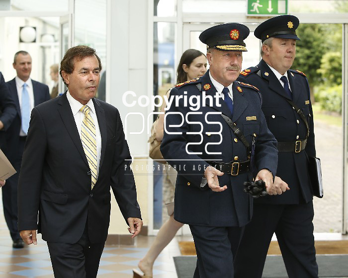 15/07/2013 Alan Shatter TD, Minister for Justice, Equality and Defence pictured with Martin Callinan, Garda Commissioner and Fintan Fanning, Assistant Commisioner at a Garda Reserve Graduation Ceremony which took place at the Garda Training College, Templemore, Co. Tipperary. Picture: Don Moloney / Press 22