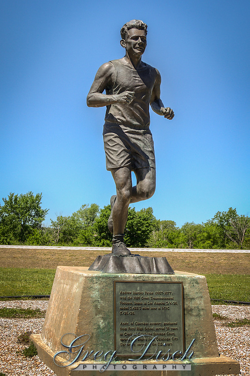Andy Payne Monument in Foyl Oklahoma on Route 66.  Andrew Hartley Payne  (1907-1977) won the 1928 Great Transconitnetal Footrace, began in Los Angeles 3-4-28, ended 3,422.3 miles later in New York City 5-26-28.
