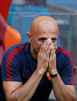 Calcio, Serie A: Roma vs Sampdoria. Roma, stadio Olimpico, 11 settembre 2016.<br /> Roma&rsquo;s coach Luciano Spalletti waits for the start of the Italian Serie A football match between Roma and Sampdoria at Rome's Olympic stadium, 11 September 2016. Roma won 3-2.<br /> UPDATE IMAGES PRESS/Isabella Bonotto
