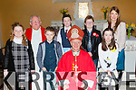 The pupils from Ballyfinnane NS with Bishop Ray Browne at their Confirmation in Keel on Friday l-r: Elizabeth Spring, Fr Luke Roche, Cormac Grey, JP Teahan, Conor Quirke, Aimee Griffin, Lorna Hickey class teacher