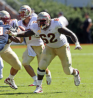 Oct 2, 2010; Charlottesville, VA, USA; Florida State Seminoles guard Rodney Hudson (62) during the game against the Virginia Cavaliers at Scott Stadium. Florida State won 34-14.  Mandatory Credit: Andrew Shurtleff-