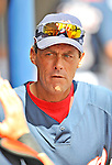 15 March 2008: Washington Nationals' pitching coach Randy St. Claire walks down the dugout during a Spring Training game against the Los Angeles Dodgers at Space Coast Stadium, in Viera, Florida...Mandatory Photo Credit: Ed Wolfstein Photo