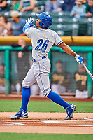 Raul Mondesi (26) of the Omaha Storm Chasers follows through on his swing against the Salt Lake Bees in Pacific Coast League action at Smith's Ballpark on May 8, 2017 in Salt Lake City, Utah. Salt Lake defeated Omaha 5-3. (Stephen Smith/Four Seam Images)
