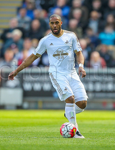 09.04.2016. Liberty Stadium, Swansea, Wales. Barclays Premier League. Swansea versus Chelsea. Swansea City's Ashley Williams (Captain) in action during the match
