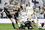 (L-R) Real Madrid's Luka Modric, Lucas Vazquez  and AFC Ajax's Matthijs de Ligt, Nicolas Tagliafico  during a UEFA Champions League match. Round of 16. Second leg. March, 5,2019. (ALTERPHOTOS/Alconada)