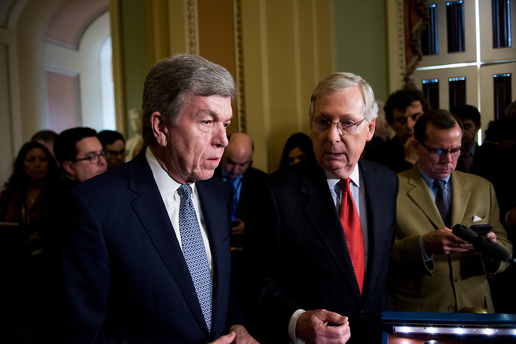 UNITED STATES - MARCH 28: Sen. Roy Blunt, R-Mo., left, and Senate Majority Leader Mitch McConnell, R-Ky., speak to reporters following the weekly Senate Republicans' policy lunch on Tuesday, March 28, 2017. (Photo By Bill Clark/CQ Roll Call)
