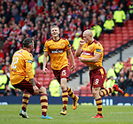Curtis Main celebrates with the ball up his shirt