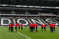 Fleetwood Town players inspect the pitch on arrival at the stadium<br /> <br /> Photographer Andrew Kearns/CameraSport<br /> <br /> The EFL Sky Bet League One - Milton Keynes Dons v Fleetwood Town - Saturday 11th November 2017 - Stadium MK - Milton Keynes<br /> <br /> World Copyright &copy; 2017 CameraSport. All rights reserved. 43 Linden Ave. Countesthorpe. Leicester. England. LE8 5PG - Tel: +44 (0) 116 277 4147 - admin@camerasport.com - www.camerasport.com