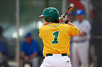 North Dakota State Bison shortstop Bennett Hostetler (1) at bat during a game against the Central Connecticut State Blue Devils on February 23, 2018 at North Charlotte Regional Park in Port Charlotte, Florida.  North Dakota State defeated Connecticut State 2-0.  (Mike Janes/Four Seam Images)