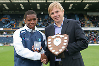 Kadeem Harris of Wycombe Wanderers collects his Trophy after winning Youth Team Player of the Month during Wycombe Wanderers vs Colchester United, Coca Cola League Division One Football at Adams Park on 17th October 2009