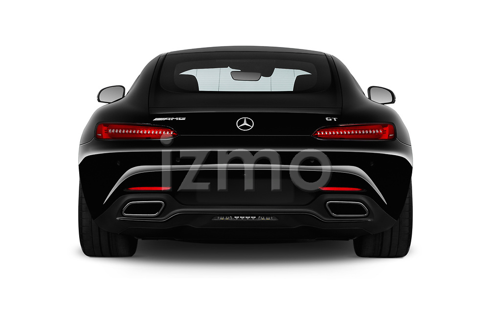 Straight rear view of 2017 Mercedes Benz AMG-GT - 3 Door Coupe Rear View  stock images