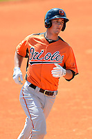 Baltimore Orioles catcher Michael Ohlman (21) during a minor league Spring Training game against the Atlanta Braves at Al Lang Field on March 13, 2013 in St. Petersburg, Florida.  (Mike Janes/Four Seam Images)
