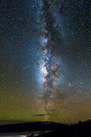 Two shooting stars head toward the Milky Way Galaxy over Mauna Loa, Hawai'i Island.