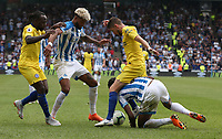 Chelsea's Jorginho battles with Huddersfield Town's Terence Kongolo <br /> <br /> Photographer Stephen White/CameraSport<br /> <br /> The Premier League - Huddersfield Town v Chelsea - Saturday August 11th 2018 - The John Smith&rsquo;s Stadium<br />  - Huddersfield<br /> <br /> World Copyright &copy; 2018 CameraSport. All rights reserved. 43 Linden Ave. Countesthorpe. Leicester. England. LE8 5PG - Tel: +44 (0) 116 277 4147 - admin@camerasport.com - www.camerasport.com