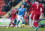 St Johnstone v Aberdeen&hellip;15.04.17     SPFL    McDiarmid Park<br />Liam Craig gets between Ryan Jack and Kenny McLean<br />Picture by Graeme Hart.<br />Copyright Perthshire Picture Agency<br />Tel: 01738 623350  Mobile: 07990 594431