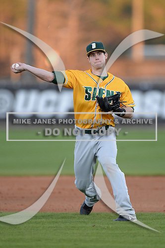Siena Saints second baseman Mike Allen (8) during warmups before the season opening game against the Central Florida Knights at Jay Bergman Field on February 14, 2014 in Orlando, Florida.  UCF defeated Siena 8-1.  (Copyright Mike Janes Photography)