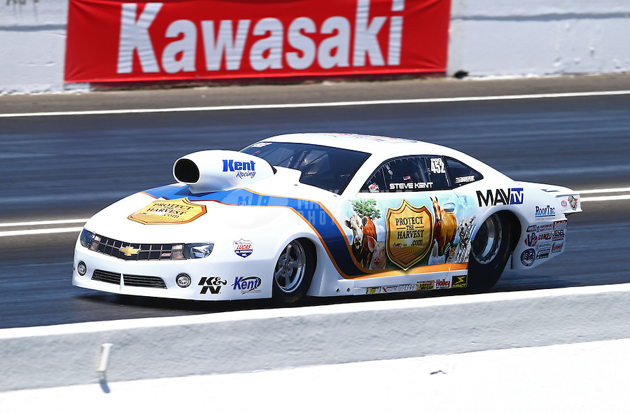 Jun. 1, 2013; Englishtown, NJ, USA: NHRA pro stock driver Steve Kent during qualifying for the Summer Nationals at Raceway Park. Mandatory Credit: Mark J. Rebilas-
