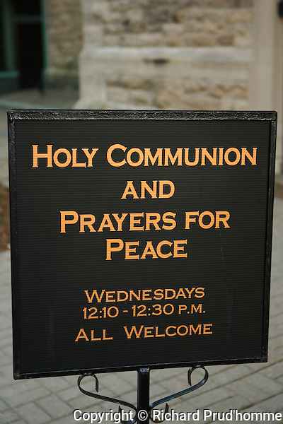A sign for prayers at the St. Andrew's Church in Ottawa