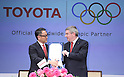 (L-R)  Akio Toyoda, Thomas Bach, MARCH 13, 2015 - Signing ceremony for making Toyota an official top-ranked Olympic sponsorship in Tokyo, Japan. (Photo by Motoo Naka/AFLO)