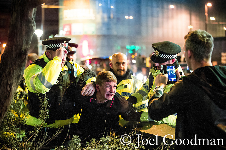 © Joel Goodman - 07973 332324 . 01/01/2016 . Manchester , UK . Revellers in Manchester on a New Year night out at the clubs around the city centre's Printworks venue . Photo credit : Joel Goodman