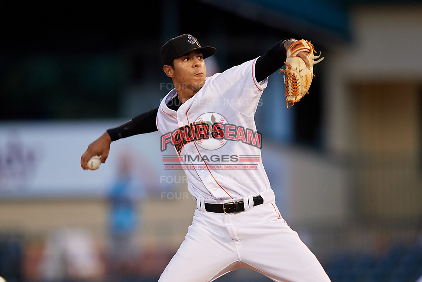 Jupiter Hammerheads relief pitcher Jorgan Cavanerio (18) delivers a pitch during a game against the Palm Beach Cardinals on August 4, 2018 at Roger Dean Chevrolet Stadium in Jupiter, Florida.  Palm Beach defeated Jupiter 7-6.  (Mike Janes/Four Seam Images)