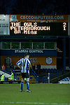 The electronic scoreboard pictured as Sheffield Wednesday take on Peterborough United in a Coca-Cola Championship match at Hillsborough Stadium, Sheffield. The home side won by 2 goals to 1 giving Alan Irvine his third straight win since taking over as Wednesday's manager.