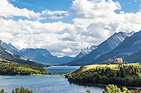 Waterton Lakes National Park,  Waterton Lake and the Prince of Wales Hotel.