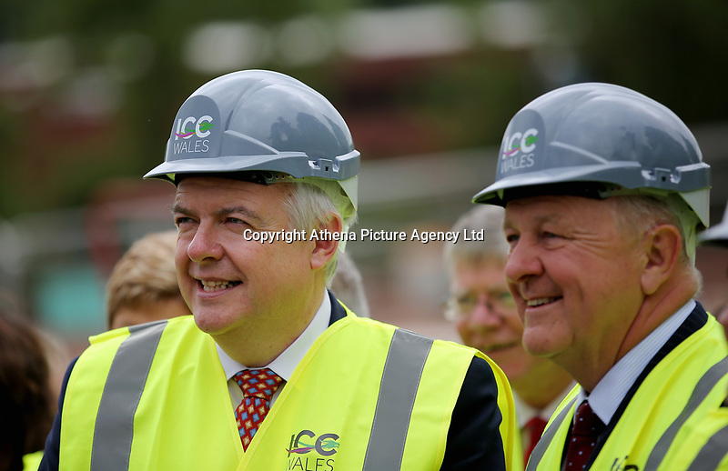 Pictured L-R: Carwyn Jones and Stephen Bowcott. Friday 23 June 2017<br /> Re: First Minister for Wales Carwyn Jones has joined Sir Terry Matthews, Chairman of the Celtic Manor Resort; Stephen Bowcott, Chief Executive of Sisk Group Construction; and Debbie Wilcox, Leader of Newport City Council, to break ground on the site of the new ICC Wales.<br /> Around 80 invited guests from the public and private sectors of the events industry have also witnessed the ground breaking ceremony which marks the official start of the construction of the new venue, due to open in 2019.<br /> The dignitaries will use commemorative spades to symbolically dig the first ground on the new site, marking the start of building work in earnest.