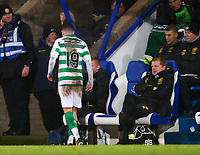 29th January 2020; McDairmid Park, Perth, Perth and Kinross, Scotland; Scottish Premiership Football, St Johnstone versus Celtic; An injured Mikey Johnston of Celtic heads for the tunnel while Celtic Manager Neil Lennon looks on