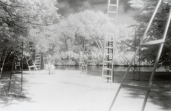 """Stairs art installation, """"Amsterdam's bos"""" in infra red The Netherlands"""