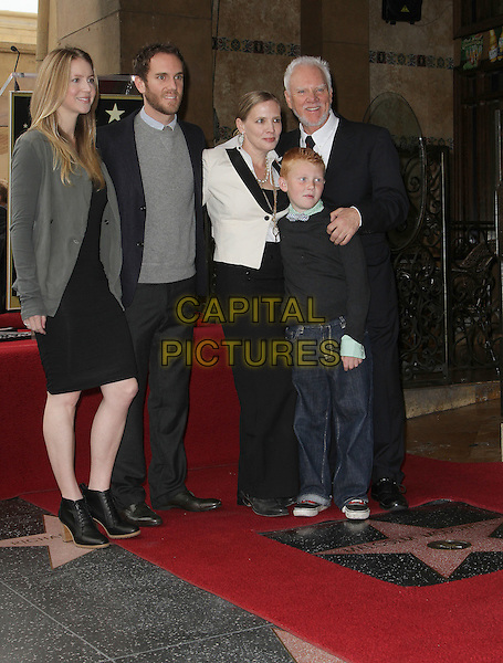 Malcolm McDowell, wife Kelly McDowell, sons Beckett McDowell, Charlie McDowell, daughter Lily McDowell.Malcolm McDowell Hollywood Walk of Fame Star Ceremony, Hollywood, California, USA..March 16th, 2012.full length black suit facial hair beard kids children married husband mother mom mum father dad grey gray dress white.CAP/ADM/KB.©Kevan Brooks/AdMedia/Capital Pictures.