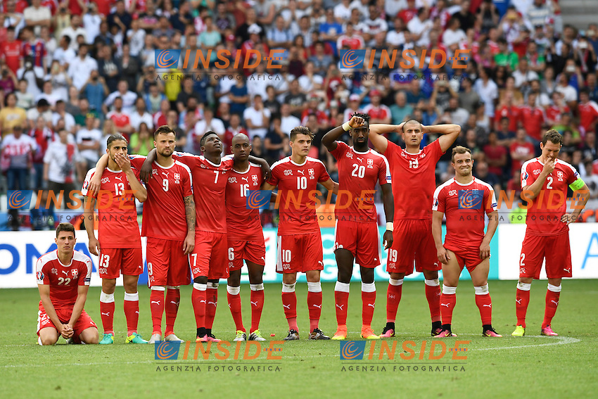 Swiss players react during the last penalty and the Polish victory Delusione  <br /> Saint Etienne 25-06-2016 Stade Geoffroy Guichard Football Euro2016 Switzerland - Poland / Svizzera - Polonia Round of 16. Foto Alain Grosclaude/freshfocus / Insidefoto