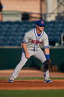 St. Lucie Mets first baseman Dale Burdick (7) during a game against the Florida Fire Frogs on April 19, 2018 at Osceola County Stadium in Kissimmee, Florida.  St. Lucie defeated Florida 3-2.  (Mike Janes/Four Seam Images)