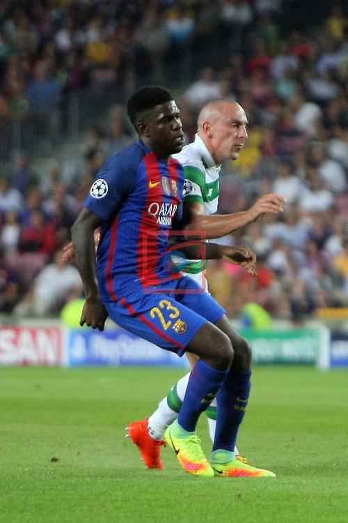 UEFA Champions League 2016/2017 - Matchday 1.<br /> FC Barcelona vs Celtic FC: 7-0.<br /> Samuel Umtiti vs Scott Brown.