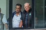 13.07.2019, Parkstadion, Zell am Ziller, AUT, FSP, Werder Bremen vs. Darmstadt 98<br /> <br /> im Bild<br /> Erwin Haid (ehem. Dir. des Schulzentrum Zell am Ziller) mit Juergen / Jürgen L. Born (ehemaliger Vorsitzender des Vorstandes bzw. der Geschäftsführung SV Werder Bremen) - verfolgen das Spiel aus einem Fenster des Schulzentrums, <br /> im dritten Spiel von drei auf 30 Min, <br /> <br /> Foto © nordphoto / Ewert