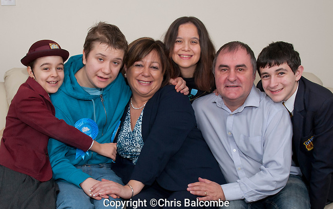 SUN NEWS FEATURE: Maria Hutchings is the Conservative Party Prospective Parliamentary Candidate for Eastleigh, Hampshire..Pictured: Maria Hutchings with her family..Pic: Chris Balcombe..