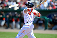 Boston Red Sox designated hitter Jonny Gomes #5 during a Spring Training game against the Miami Marlins at JetBlue Park on March 27, 2013 in Fort Myers, Florida.  Miami defeated Boston 5-1.  (Mike Janes/Four Seam Images)