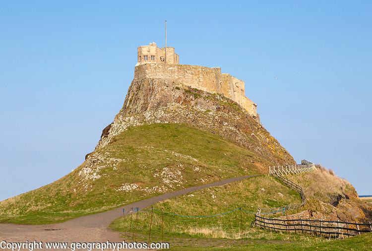 Lindisfarne castle on North Sea coast, Holy Island, Northumberland, England, UK
